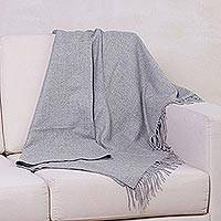100% alpaca throw, 'Cozy Light Gray' - Alpaca Wool Solid Grey Throw Blanket