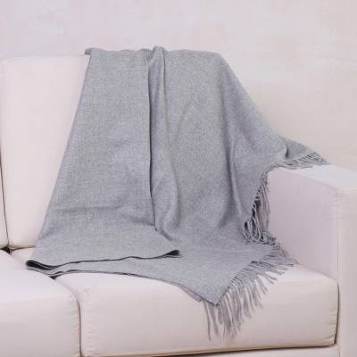 100 Alpaca Throw Cozy Light Gray Wool Solid Grey