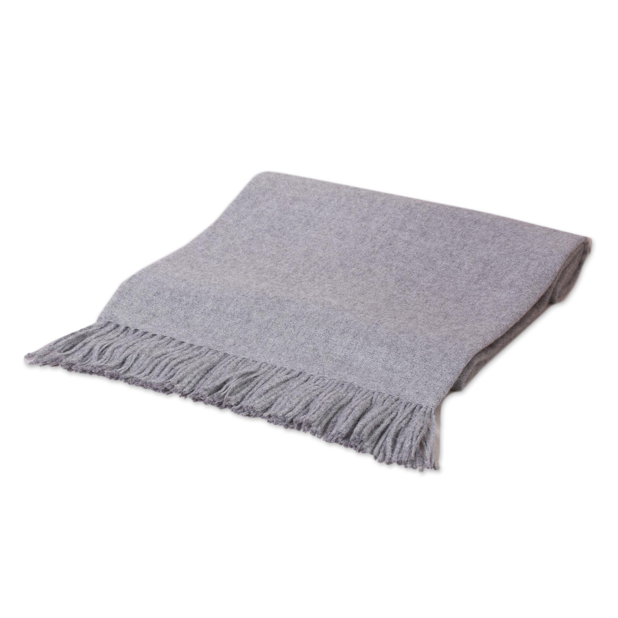 alpaca wool solid grey throw blanket  cozy light gray  novica -