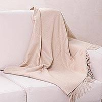 100% alpaca throw, 'Cozy Beige' - Unique Alpaca Wool Solid Throw Blanket from Peru