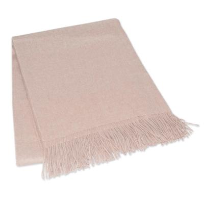 100% alpaca throw, 'Cozy Beige' - Unique Alpaca Wool Solid Throw Blanket from Peru