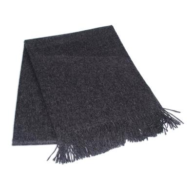 100% alpaca throw, 'Cozy Dark Gray' - 100% Alpaca Wool Solid Throw
