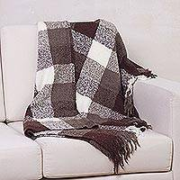 100% alpaca throw, 'Brown Geometry' - Geometric 100% Alpaca Wool Throw Blanket