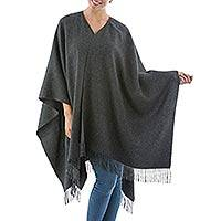 100% alpaca ruana, 'Lush Dark Gray' - Graphite Grey Pure Alpaca Ruana Wrap from Peru