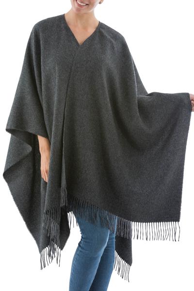 100% alpaca ruana, 'Lush Dark Gray' - Handcrafted Alpaca Wool Solid Wrap Ruana