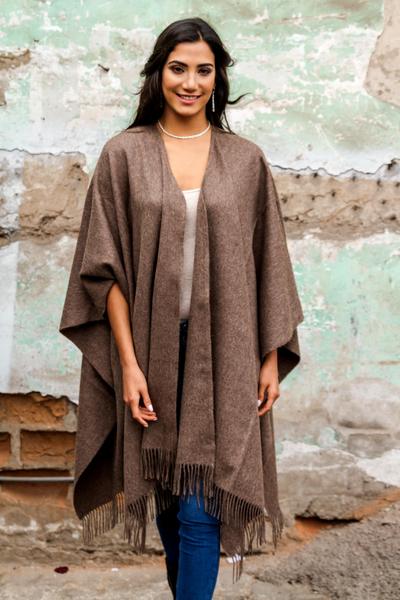 100% alpaca ruana, 'Lush Dark Brown' - Alpaca Wool Solid Wrap Ruana from Peru