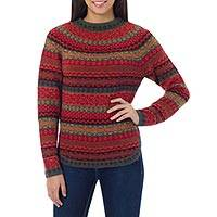 100% alpaca sweater, 'Scarlet Medley' - Geometric Alpaca Wool Art Knit Pullover Sweater