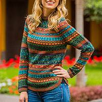 100% alpaca sweater, 'Andean Meadow' - Handcrafted Womens Sweater from Peru