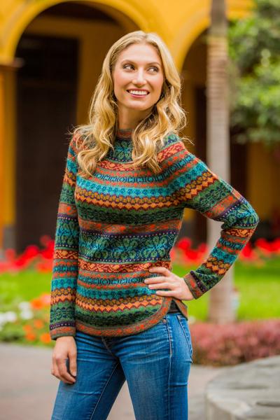 100% alpaca sweater, 'Andean Meadow' - Alpaca Wool Pullover Sweater