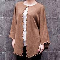 100% alpaca cape, 'Arequipa Muse' - Hand Crafted Alpaca Wool Brown Cape
