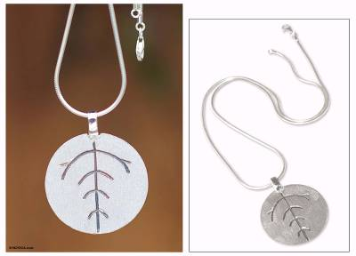 Sterling silver pendant necklace, 'Leaf Circle' - Peruvian Sterling Silver Pendant Necklace