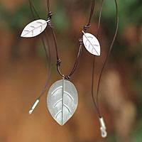 Sterling silver and leather waterfall necklace, 'Foliage' - Sterling silver and leather waterfall necklace
