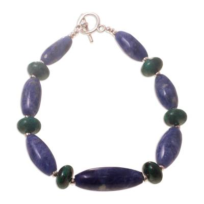 Sodalite and chrysocolla beaded bracelet