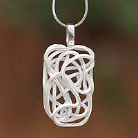 Sterling silver pendant necklace, 'Labyrinth' - Unique Sterling Silver Pendant Necklace