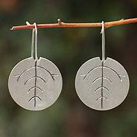 Sterling silver drop earrings, 'Leaf Circle' - Sterling silver drop earrings