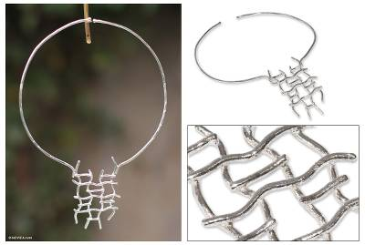 Sterling silver choker, 'Fishing Net' - Handcrafted Modern Andean Sterling Silver Choker