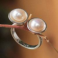 Cultured pearl cocktail ring, 'Twin Moons' - Cultured pearl cocktail ring