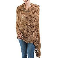 100% alpaca shawl, 'Brown Horizon' - Unique Alpaca Wool Crocheted Brown Shawl