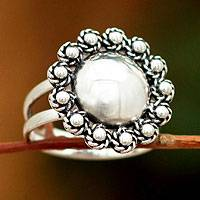 Sterling silver floral ring, 'Yareta Flower'