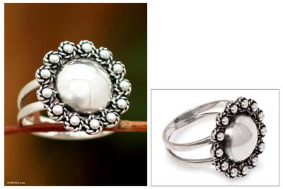 Sterling silver floral ring, 'Yareta Flower' - Handcrafted Floral Sterling Silver Cocktail Ring