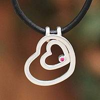 Sterling silver and leather heart necklace, 'Our Love'