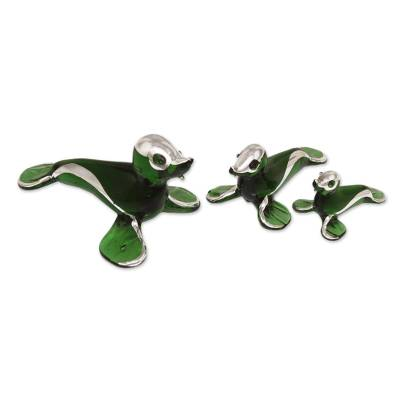 Blown glass silver leaf figurines, 'Playful Green Seals' (set of 3) - Handblown Glass Sculptures (Set of 3)