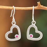 Sterling silver heart earrings, 'Our Love' - Heart Shaped Silver Earrings