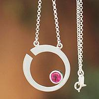 Sterling silver pendant necklace, 'Lover's Moon' - Sterling silver pendant necklace