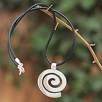 Sterling silver and leather pendant necklace, 'Inward Path'