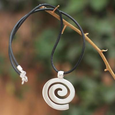 Sterling silver and leather pendant necklace, 'Inward Path' - Handcrafted Sterling Silver and Leather Pendant Necklace