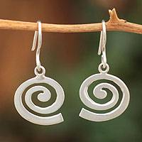 Sterling silver dangle earrings, 'Inward Path' - Sterling Silver Dangle Earrings