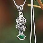 Artisan Crafted Silver and Chrysocolla Pendant Necklace, 'Andean Force'