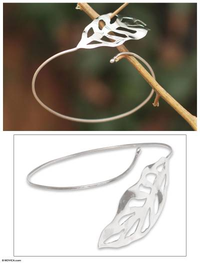 Silver cuff bracelet, 'Leaf of Life' - Silver cuff bracelet