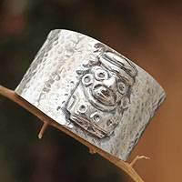 Sterling silver cuff bracelet, 'Inca Idol' - Sterling silver cuff bracelet