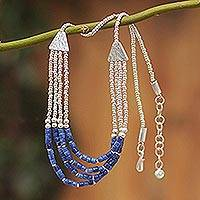 Sodalite beaded necklace, 'Queen of the Inca' - Unique Sterling Silver and Sodalite Necklace
