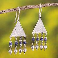 Sodalite chandelier earrings, 'Queen of the Inca' - Sterling Silver and Sodalite Dangle Earrings