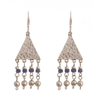 Sodalite chandelier earrings, 'Queen of the Inca' - Sterling Silver and Sodalite Dangle Earrings
