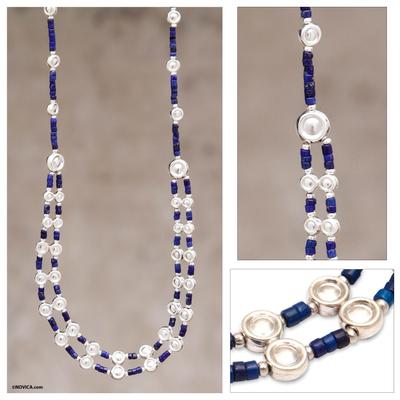 Lapis lazuli beaded necklace, 'Andean Legend' - Unique Sterling Silver Beaded Lapis Lazuli Necklace