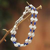 Lapis lazuli wristband bracelet, 'Andean Legend' - Handcrafted Sterling Silver and Lapis Lazuli Bracelet