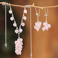 Rose quartz jewelry set, 'Candy Clusters' - Rose Quartz Earrings and Necklace Jewelry Set