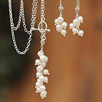 Pearl jewelry set, 'Snowballs' - Hand Made Pearl Earrings and Necklace Jewelry Set
