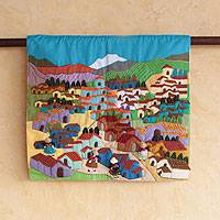 Cotton applique wall hanging, 'Andean Village' - Fair Trade Folk Art Cotton Wall Hanging