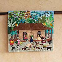 Cotton applique wall hanging, 'A Day at the Farm' - Cotton applique wall hanging