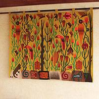 Wool tapestry, 'Forest of the Birds' - Collectible Wool Tapestry Wall Hanging