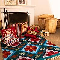 Wool rug, 'Flower of Peace' (4x5.5) - Handcrafted Wool Area Rug from Peru
