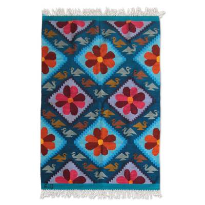 Wool rug, 'Flower of Peace' (4x5.5) - Handwoven Vibrant Floral Wool Accent Area Rug (4x5.5)
