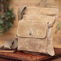Leather shoulder bag, 'Huacachina Traveler' - Glossy Beige Leather Shoulder Bag