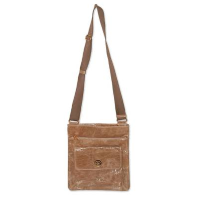 Leather shoulder bag, 'Huacachina Traveler' - Leather messenger bag