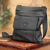 Men's leather messenger bag, 'Peruvian Traveler' - Men's leather messenger bag