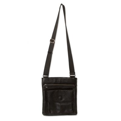 Men's leather messenger bag, 'Peruvian Traveler' - Men's leather messenger bag